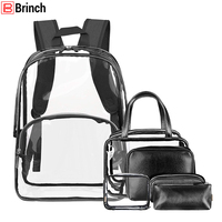BRINCH 6 in 1 Women Backpack Transparent PVC School Backpack For Teenager Girls Fashion Large Capacity Female Travel Bag