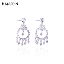 Luxury Wedding Earrings for Women Alloy Pendientes Gold Silver Color Crystal Water Drop Earrings Fashion Jewelry