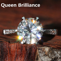 Luxury 3 Carat Ct F Color Lab Grown Moissanite Engagement Wedding Ring With Real Diamond Accents
