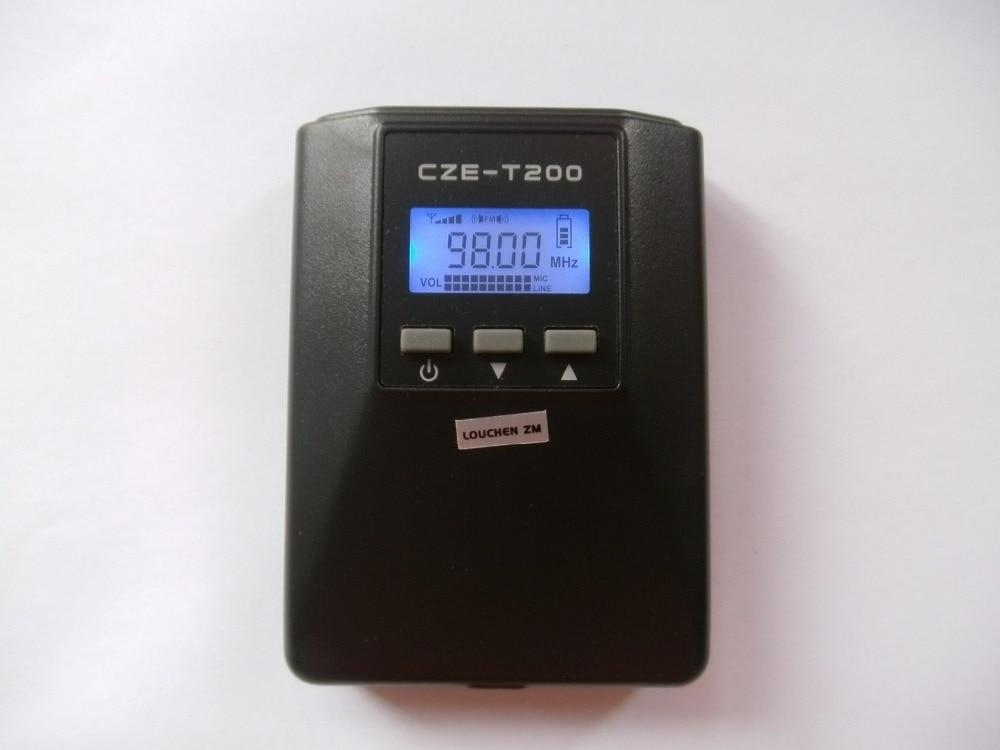 Czh-t200 Портативный fm-передатчик Радио вещания стерео моно Мощность Регулируемый для туризма Автошкола собрания