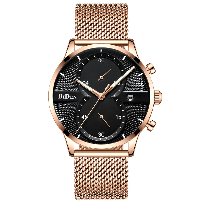 BIDEN Chronograph Men Watch Top Brand Luxury Military Sport Male Clock Stainless Steel Mens Watches Business Quartz Clocks 0094 goer men military sport clock male business skeleton clocks automatic mechanical watches top brand luxury mens wrist watch