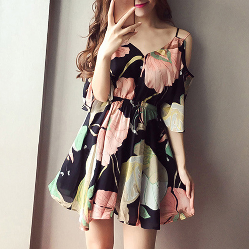 women floral printed mini dress sexy off shoulder elegant party dresses sweet short sleeve beach mini dresses 2018 summer dress