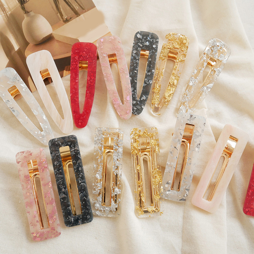 2019 Women Acrylic Hollow Waterdrop Rectangle Hair Clips Hairgrips Tin Foil Sequins Hairpins Barrettes Hairclip Hair Accessories