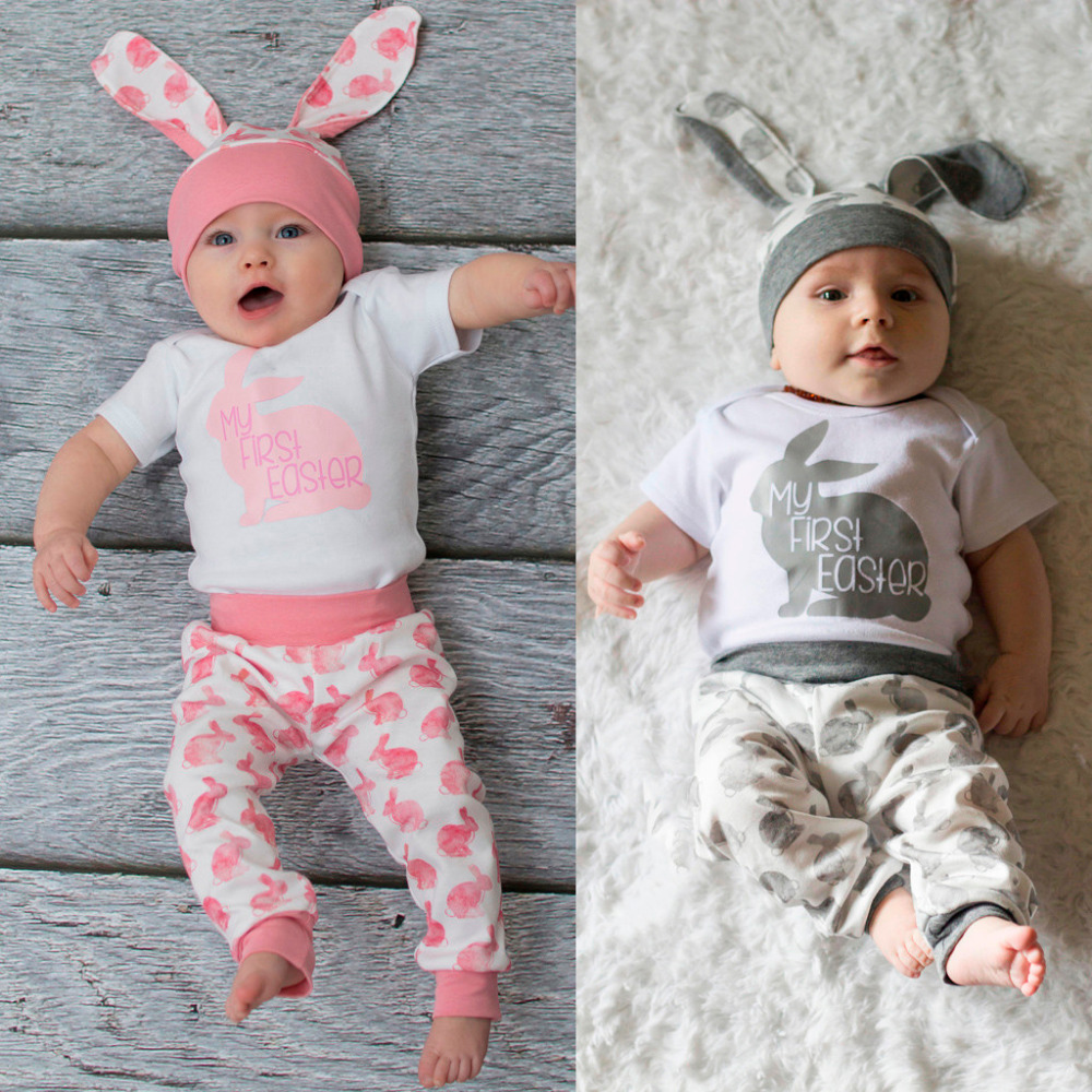 Toddler Infant Baby Girls Boys Easter Bunny Outfits Romper Tops+Floral Pants Set