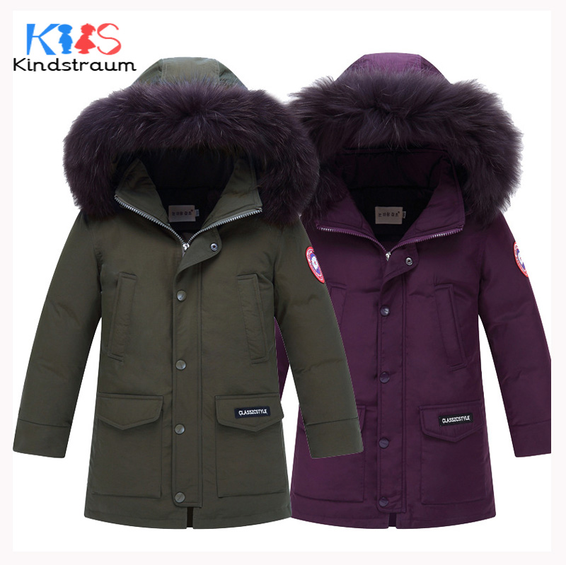 Kindstraum 2017 New Fashion Winter Kids Down Jacket Super Warm Boy Girl 100% Duck Down Coat Hooded Children Casual Outwear,MC868 2017 teens girl boys winter outwear coat hooded jacket children duck down jacket boy clothes kids patchwork down parkas 3 12 yrs