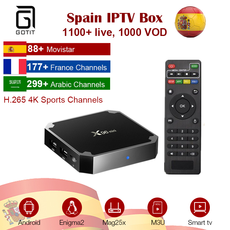 GOTiT Spanish IPTV X96 MINI 4K Android UHD IPTV Box 1G DDR 8G RAM French Arabic