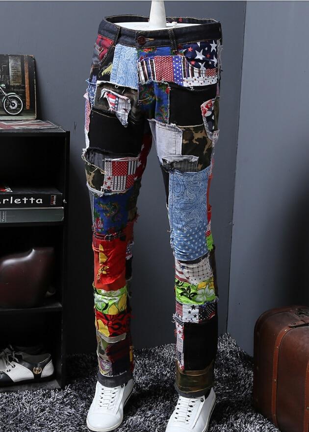 Loch Patch Jeans bettler design streetwear 2019 neue mode F85-in Jeans aus Herrenbekleidung bei  Gruppe 1