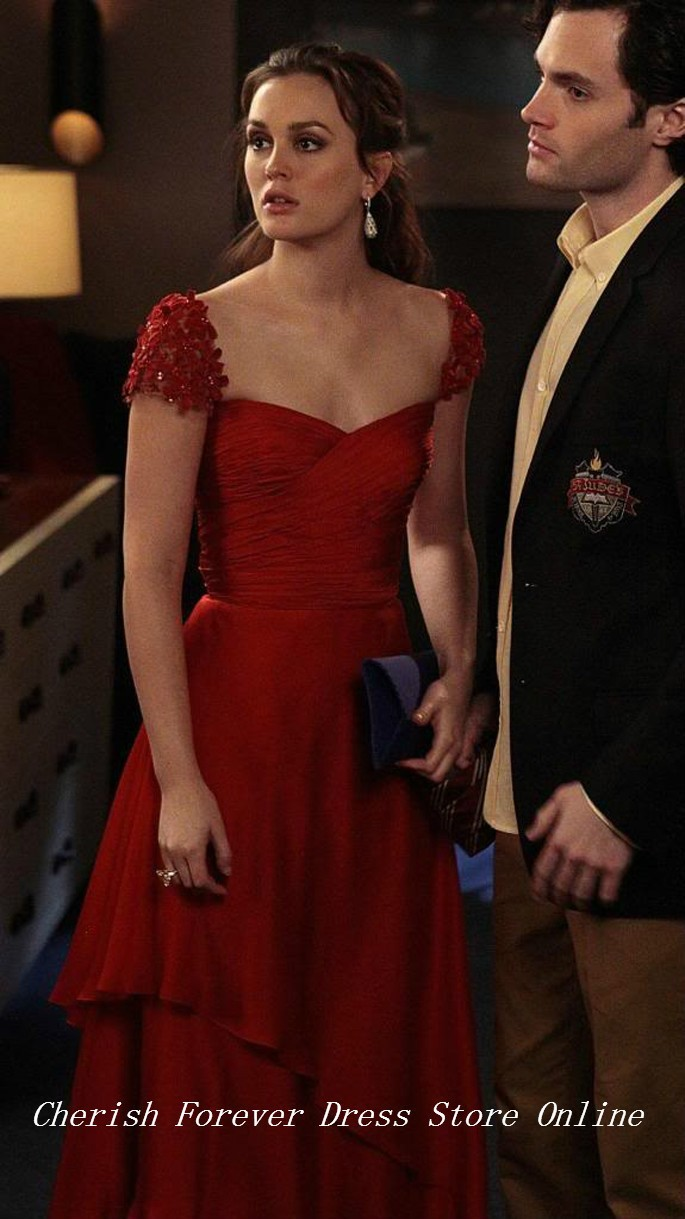 reem acra resort 2012 gossip girl Leighton Meester Cap Sleeves Long Formal Evening Gowns Sweetheart Celebrity Dress 2015 Red Evening Dress 114 (2)
