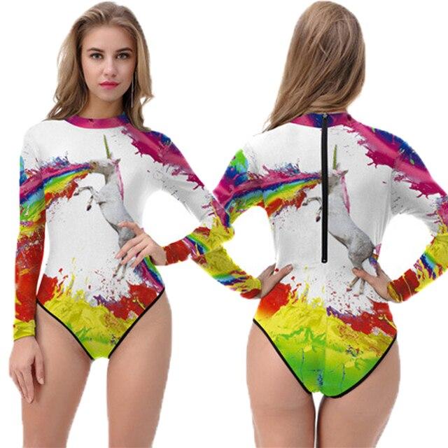 b5b11ee138d50 Ink Splash Unicorn Painting Zipper Monokinis One Piece Long Sleeve Bathing  Suit Colorful Rainbow Horse Women Surfing Swimsuit