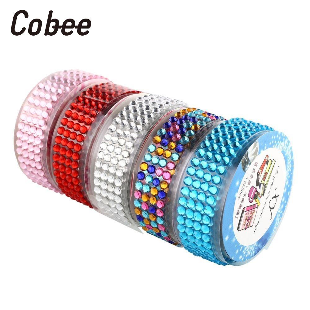 Cobee 5pcs/set Adhesive Tape Self-Adhesive AS Rhinestones Stick Scrapbooking Craft Sticker Tape Decor DIY School Supplies