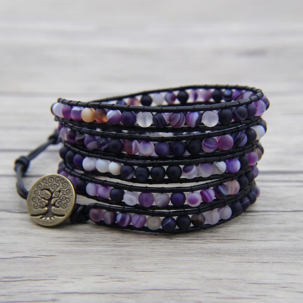 Us 21 9 Purple Beads Leather Wrap Bracelet Matt Beaded Boho Jewelry Birthday Gift Bead In Bracelets