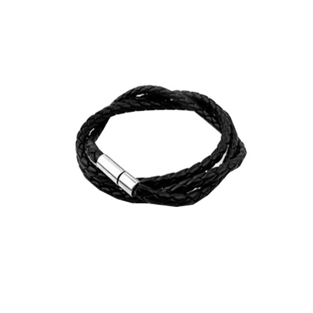 Men's Multi-layer Woven Twist Bracelet Charm Handmade Round Bracelets (Black 0360)
