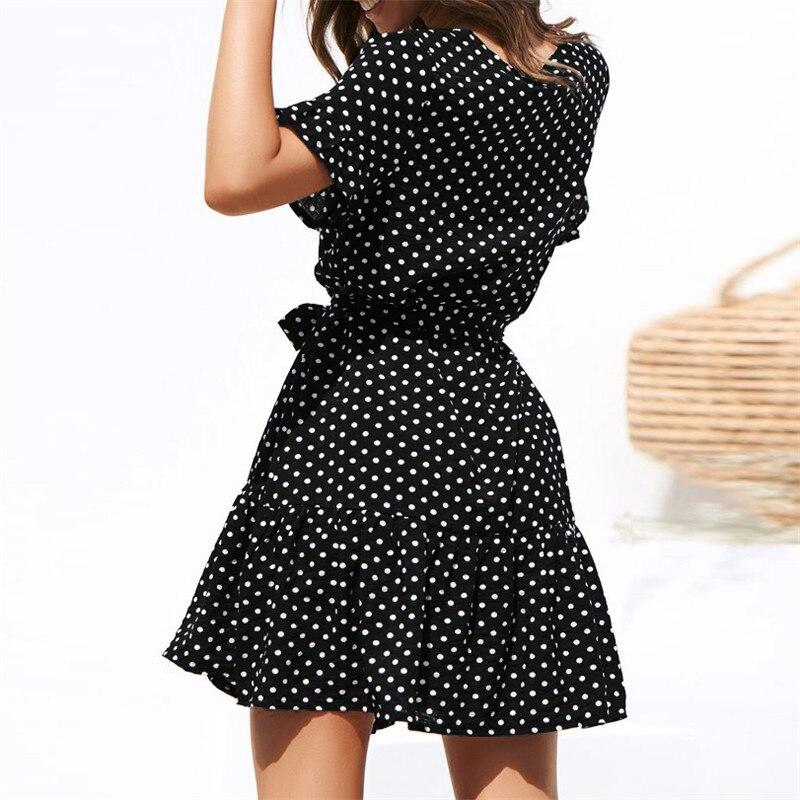 Women Summer Beach Dress Casual Short Sleeve Polka Dot Dress Boho Mini Party Dress Elegant V Neck Sundress Vestidos 1