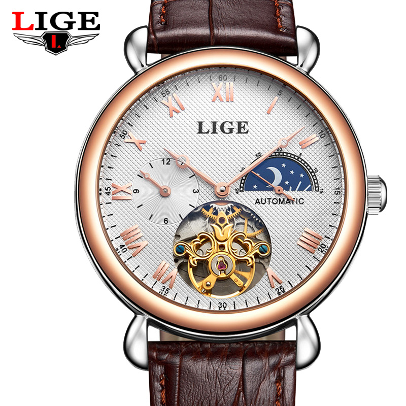 LIGE Watches Men Luxury Brand Moon Phase Mechanical Hand Wind Watch Man Fashion Casual Business Wristwatches Leather Clock +box tevise men automatic self wind mechanical wristwatches business stainless steel moon phase tourbillon luxury watch clock t805d