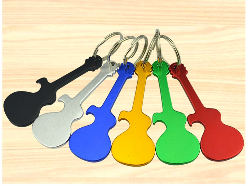 120pcs lot Fast shipping Guitar Shaped Bottle Opener Keychain Metal Key Ring Bottle Opener can custom
