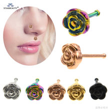 1pc I Shape 0.8x7mm Rose Gold Nose Ring Stud Nose Piercing Nariz Labret Lip Ring Helix Piercing Earring Tragus Pircing Jewelry(China)