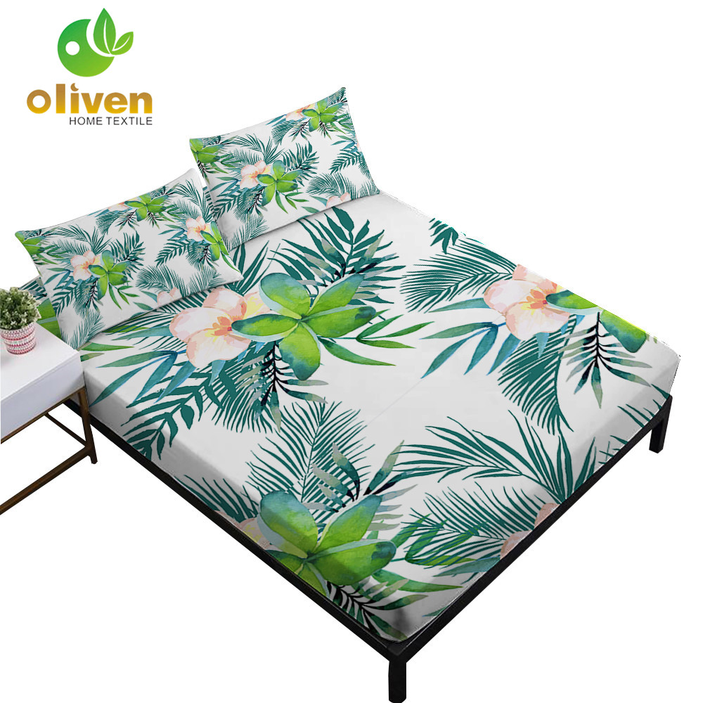 Tropical Green Plant Leaves Print Sheets Set Twin Full King Queen Fitted Sheet Bed Linens Pillowcase 4Pcs Bedding Set D30 in Bedding Sets from Home Garden