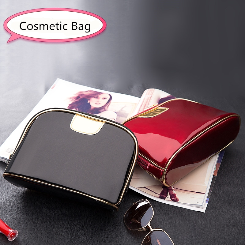 eTya Fashion Travel Cosmetic bags Women Small Big Ladies Make up Patent leather Waterproof Pouch Wash Toiletry Bag Organizer fashion cosmetic bags high quality patent leather make up bags ladies cosmetic cases organizer bags cute cosmetic bag