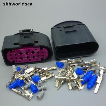 shhworldsea  10Sets 14 Pin 14P car Headlight Xenon Lamp Plug auto headlight lamp socket waterproof connector 1J0973737 For VW