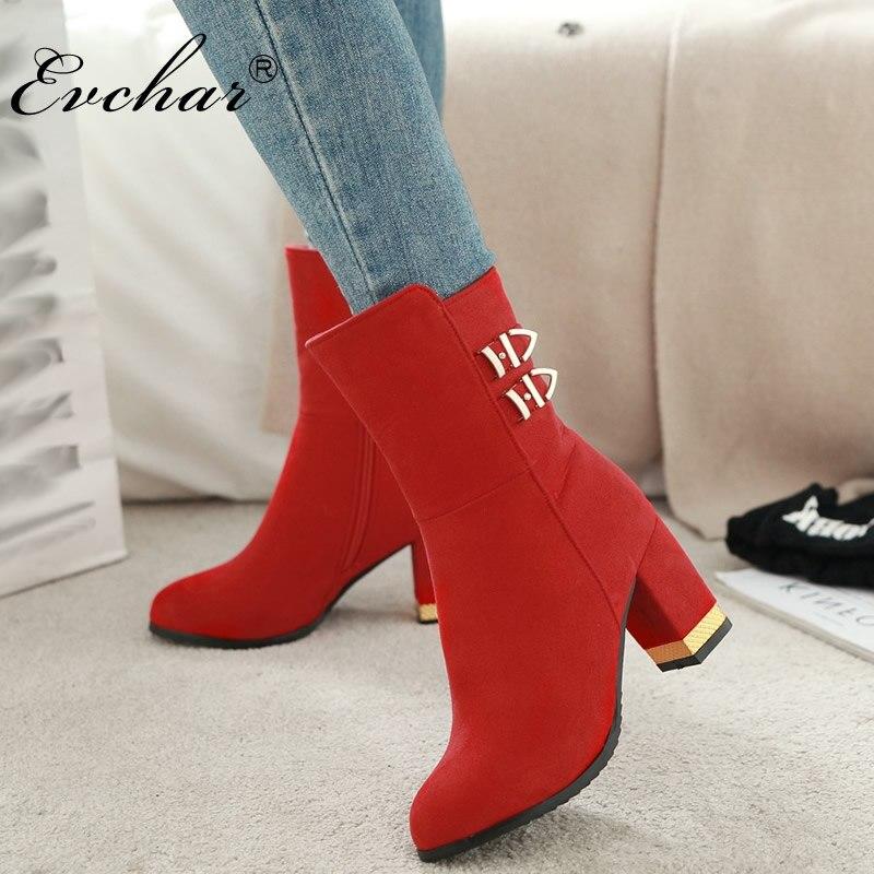 fb35cce64 EVCHAR модные сапоги для верховой езды ботильоны для женщин на осень-зиму Высокий  каблук с круглым носком сплошной черный, красный, желтый цвет.