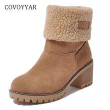 17006cf2f COVOYYAR الساخن 2019 حذاء الثلج عالي الرقبة دافئ الشتاء الفراء 2-ارتداء النساء  أحذية منصة صندل بكعب مكتنز حذاء من الجلد زلة على .