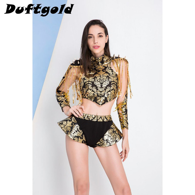 fcb31c2c1246 2017 New Fashion Girl Tassel Crop Top Short Skirt Dance Wear Women Sexy  Ballroom Stage Costume Female Singer Clothing Duftgold
