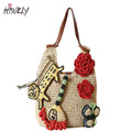 HISUELY Hand make Flowers Beach Bag Fashion Straw Weaving Bag Personality Summer  Handbag Shoulder Bag Travel Shopping Bag Tote