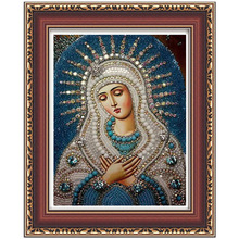 3d diy diamond painting cross stitch  embroidery Religious Lady and baby Jesus mosaic pictures Rhinestones gift
