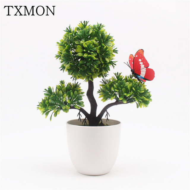 Lovely Artificial Plant Bonsai Pine Trees Potted For Wedding Home Decoration Accessories Fake Flowers Garden Office Table Decor