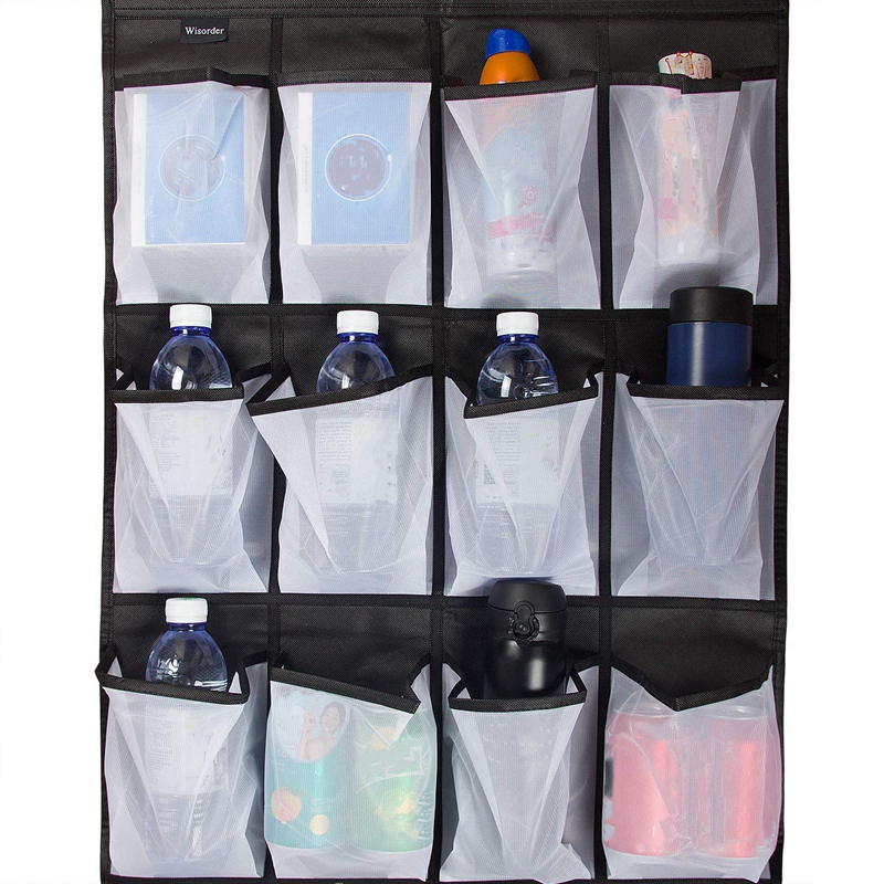 Clear Hanging Shoe Organizer Over The Door 24 Large Pockets to Keep Shoes and Bottles 7
