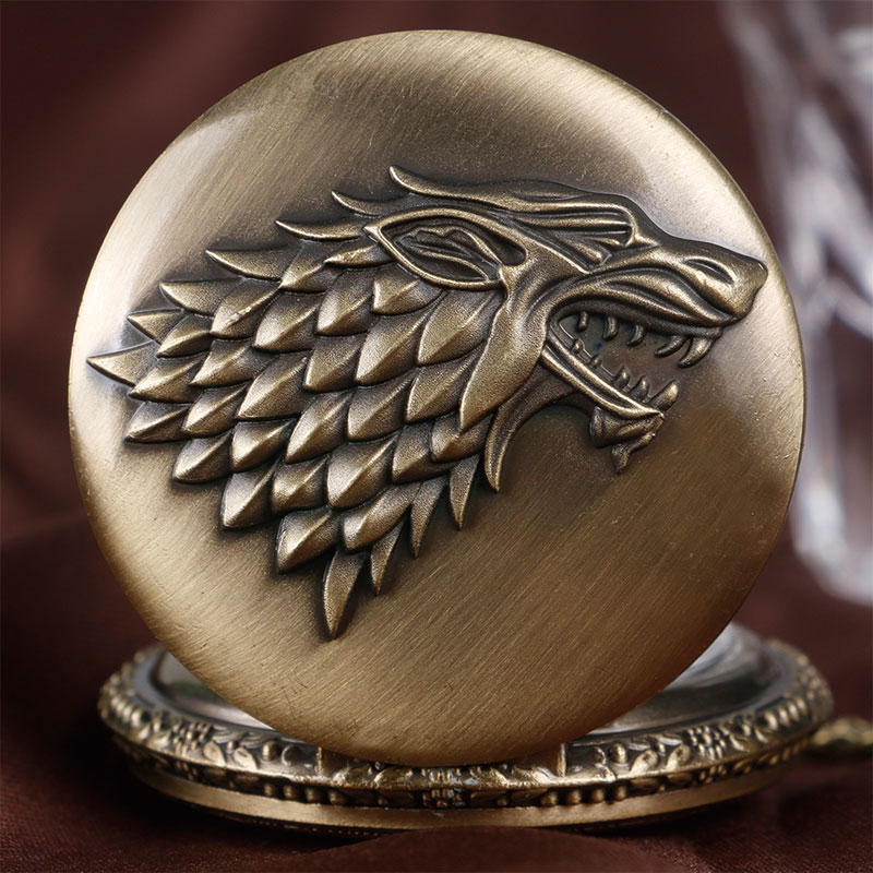 Купить с кэшбэком Retro Game of Thrones Stark House Crest Wolf Silver Bronze Quartz Pocket Watch Clock Antique Men Women Necklace Chain Gifts
