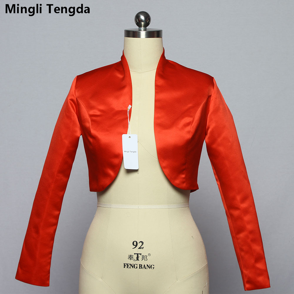 Mingli Tengda Stain Long Sleeve Wedding Bolero Bridal Jacket Red/Black Jacket Bridal Coat Wraps Women Capes Bolero Casamento