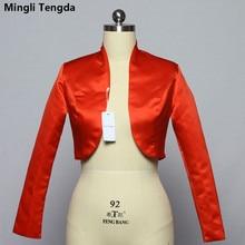 Mingli Tengda Stain Long Sleeve Wedding Bolero Bridal Jacket Red/Black Jacket Bridal Coat Wraps Women Capes Bolero Casamento
