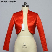 Mingli Tengda Stain bolerko z długim rękawem narzutka ślubna czerwona/czarna kurtka dla nowożeńców płaszcz okłady damskie peleryny Bolero Casamento