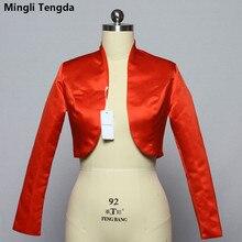 Mingli Tengda כתם ארוך שרוול חתונה בולרו כלה מעיל אדום/שחור מעיל כלה מעיל כורכת נשים שכמיות בולרו Casamento