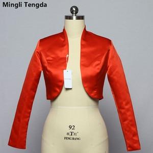 Image 1 - Mingli Tengda כתם ארוך שרוול חתונה בולרו כלה מעיל אדום/שחור מעיל כלה מעיל כורכת נשים שכמיות בולרו Casamento