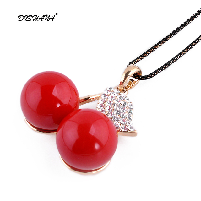 Simulated Red Pearl Jewelry Necklace Rhinestone Leaf Pendants Chain  Statement Necklaces for Women 2016 New( 96b11a7e064e