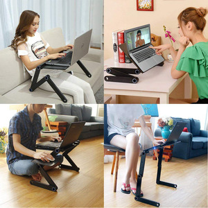 Two Fan Laptop Desks Portable Adjustable Foldable Laptop Notebook Lap PC Folding Desk Table Vented Stand Bed Tray