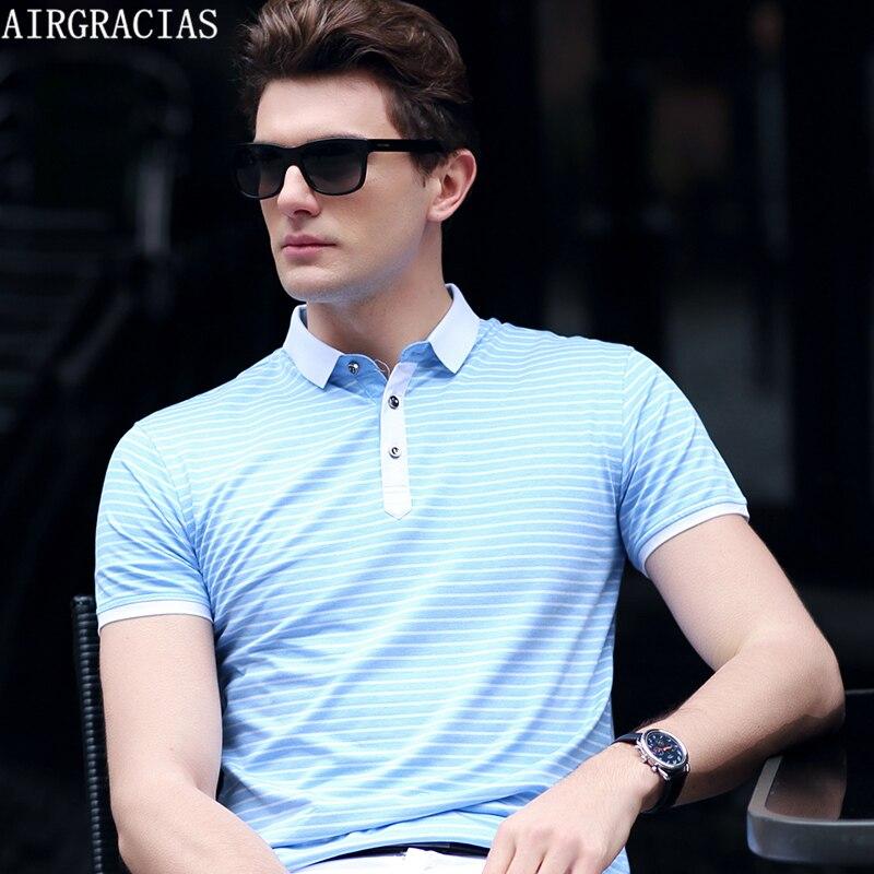 AIRGRACIAS Mens Striped Polo Shirt Summer Fashion Men Polo Shirts Short Sleeve Slim Fit Shirt For Men Classic Polo Ralphmen 8208