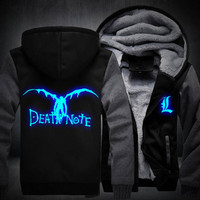 2018 Fashion Coat New Death Note Luminous Jacket Sweatshirts Thicken Hoodie Coat Casual Clothing
