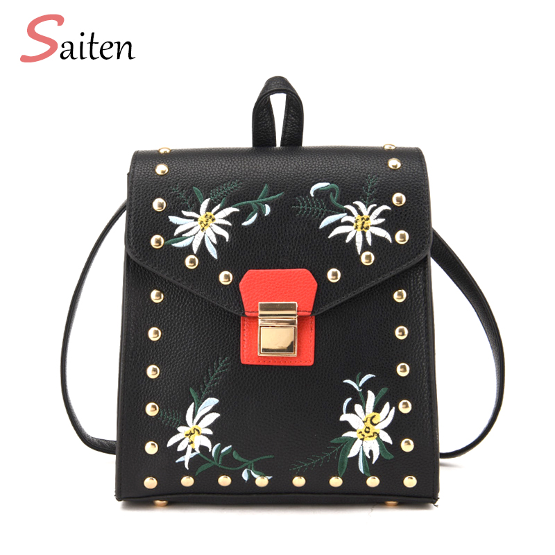 2017 Brand Vintage Women Backpack Embroidery Leather PU School Backpacks For Teenage Girls Casual High Quality