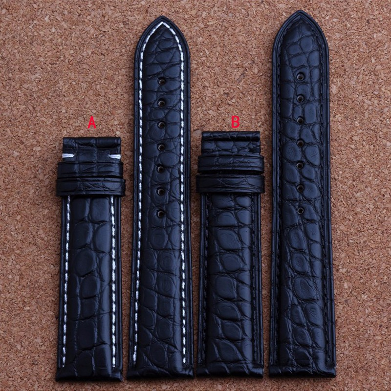 New Mens Genuine Leather Watch Strap Bands Bracelets Black Alligator Leather 18mm 19mm 20mm 21mm 22mm 24mm new mens genuine leather watch strap bands bracelets black alligator leather 18mm 19mm 20mm 21mm 22mm 24mm without buckle