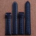 Novas Mens Genuine Relógio de Couro Bandas Cinta Pulseiras de Couro De Jacaré Preto 18mm 19mm 20mm 21mm 22mm 24mm