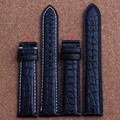 Nuevo Para Hombre Correa de Reloj de Cuero Genuino Bandas Pulseras de Piel De Cocodrilo Negro 18mm 19mm 20mm 21mm 22mm 24mm