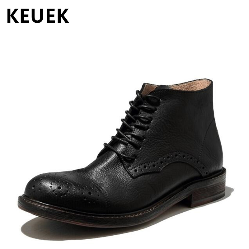 Autumn winter Men Motorcycle Boots Genuine leather Lace-Up Martin boots Fashion Male shoes Vintage Outdoor Ankle boots 033 merkmak genuine leather men ankle boots vintage lace up high top shoes fashion winter autumn warm martin boots casual outdoor