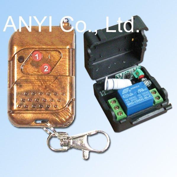 Voltage DC12V 2 Button 1 Channel RF Wireless Remote Control Lamp Rocker Switch,On/Off Electronic Door Lock,Latched Mode