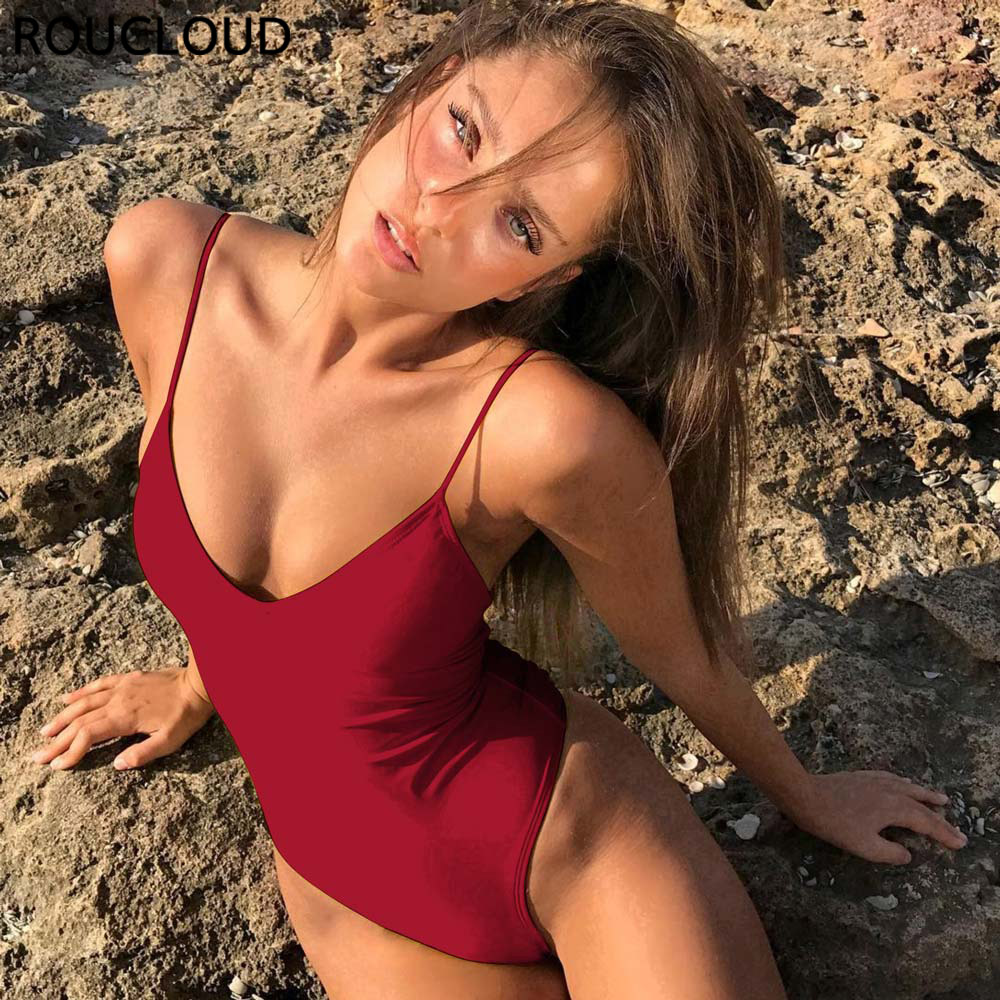 New 2019 Sexy One Piece Swimsuit Bandeau Swimwear Women High Cut Swimsuits Solid Strap Bathing Suit