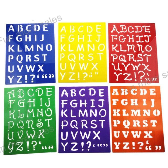 Online Shop 6Designs Stencils Kids capitall alphabet Letter drawing ...