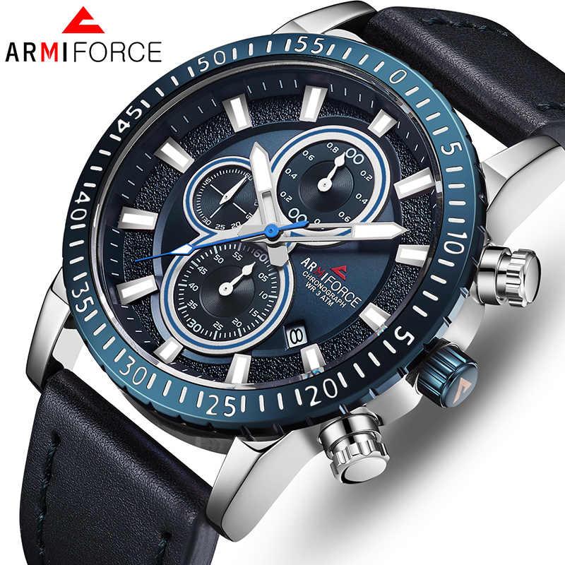 أعلى ARMIFORCE العلامة التجارية الفاخرة الرجال ساعات كوارتز رجالي ساعات جلد الأعمال ساعة يد رجالي الرياضية تاريخ ساعة Relogio Masculino