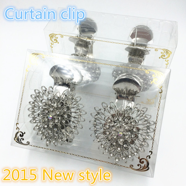 2pcs Exclusive Design European Style Crystal Curtain Clips Tassel Holder Hook Clamps Drapery Silver Color